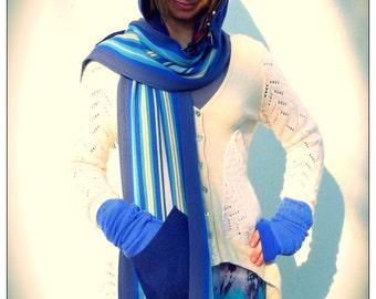Blue Hoodie Scarf Upcycled Schoodie Hoody Schoody                              HandMade in England UK