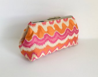 Pink and orange clutch, ikat clutch, flame stitch clutch, silk clutch, fuchsia clutch, resort clutch, summer clutch, one of a kind