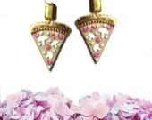 Pastel Pizza Earrings, Pizza earrings, Pizza Jewelry, vegan earrings, vegan jewelry