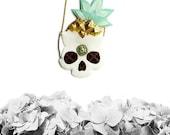 Pineapple Skull Necklace, skull necklace, skeleton necklace, skull jewelry, vegan jewelry, vegan necklace
