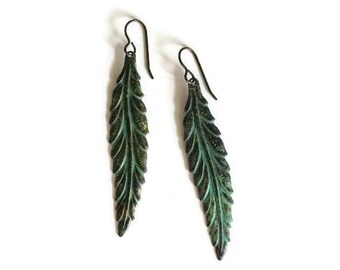 Leaf Earrings, Verdigris Patina Jewelry, Long Leaf Dangle Earrings, Verdigris Earrings