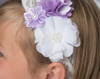 lavender flower headband, white elastic headband, girl birthday gift, flower girl hair accessories, baby headband, newborn headband, toddler