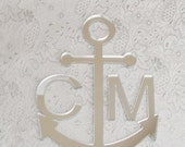 ON SALE Monogram Anchor Cake Topper for Nautical Wedding