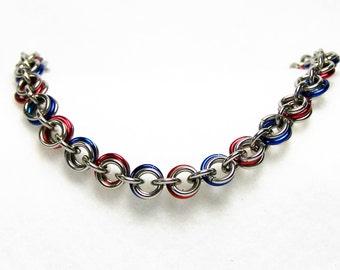 Chainmaille Bracelet, Red White and Blue Bracelet, Silver Bracelet, Chain Mail Bracelet, Chain Link Bracelet, Patriotic Bracelet
