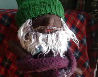 Grey Haired Brown Skinned Bearded Hipster Man Doll
