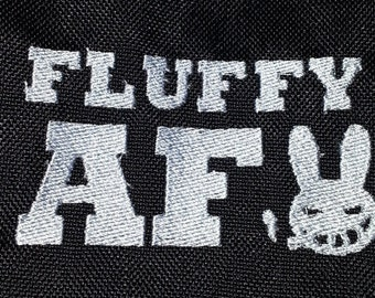 FLUFFY AF Furry fandom pride embroidered canvas jacket patch