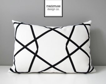 Decorative Outdoor Pillow Cover, Modern Black & White Pillow Cover, Geometric Sunbrella Pillow Cover, Black and White Cushion Cover