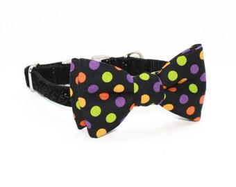 Adjustable Halloween Dog Collar- Girl Dog Collar- Glitter and polka dots