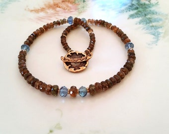 Andalusite Necklace with Fluorite and Bronze Toggle