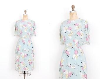 Vintage 1940s Dress / 40s Butterfly Print Rayon Dress / Light Blue (medium M)