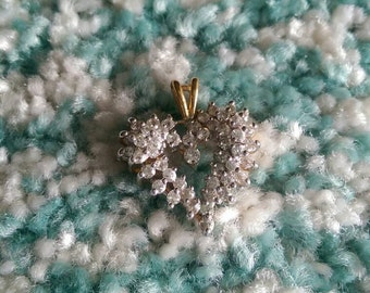 Vintage valentine's dayVermeil/925 Gold Heart with Unidentified  CZ Diamond like stones  Beautiful  heart pendant for that special someone