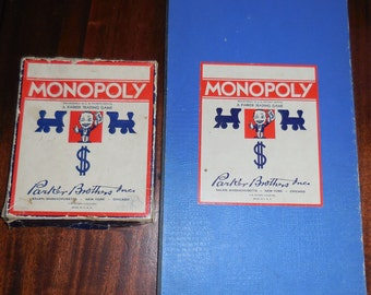 Vintage Monopoly Game Blue Box Edition Wooden Play Pieces Thin Money