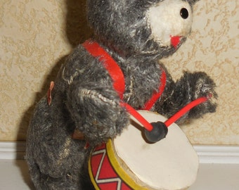 Vintage Wind Up Drumming Marching Band Drum Playing Bear
