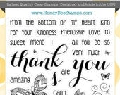 Thanks - Honey Bee Stamps - High Quality, Adorable Clear Stamps - MADE IN USA - for Scrapbooking, Cardmaking, Paper Crafting