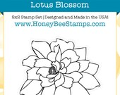 Lotus Blossom - Honey Bee Stamps - High Quality, Adorable Clear Stamps - MADE IN USA - for Scrapbooking, Cardmaking, Paper Crafting