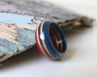Wooden Recycled Skateboard Handmade Ring Red, White and Blue Size 8