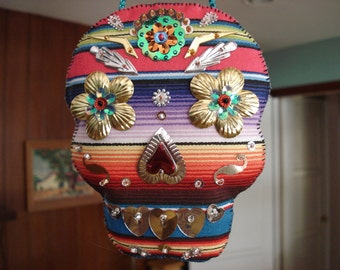 Mexican Serape Dia de los Muertos Day of the Dead Calavera Skull Hanger Ornament with Sequins and Beads