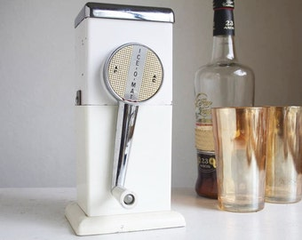 Vintage Ice Crusher, Mid Century Barware, Kitchen Gadget, Portable, Cream Colored, Gift For Him, Bartender, Cocktail Party Supply