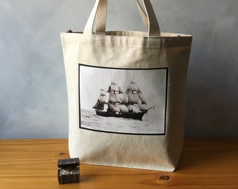 "The Volage - Vintage Photograph - Natural Bag - Essentials Tote - Boston Harbor - On the Go Bag - More info in ""Item Details"""