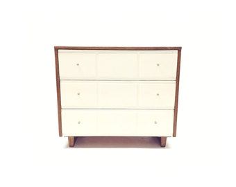 Vintage Modern Dresser In Wood and White