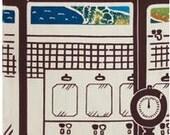 Japanese Tenugui Cotton Fabric, Japanese Retro Style Public Bath, Mt.Fuji, Hand Dyed Fabric,Gift Wrapping, Modern Art Wall, Home Decor, r007