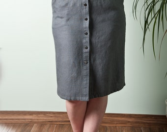 Linen Skirt with Elastic Waistband at sides. GRAPHITE Softened linen.