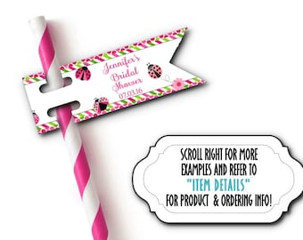 12 Flags for Straws, Sucker or Lollipop Sticks, Cake Pop Sticks, Lady Bugs, Hot Pink, Green, Wedding, Bridal,  Baby Shower, Birthday Party