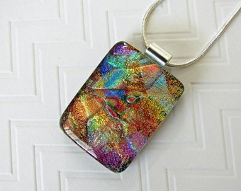 Dichroic Glass Pendant - Fused Dichroic Necklace - Fused Glass Jewelry - Colorful Handmade Jewelry For Her - 64-16