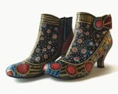 """Hand Painted Short Boots Size 7-1/2 M with 3"""" Heel in Black Red Gold Blue One of a Kind Painted Shoes"""