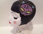 Cute purple cat sugar skull feline kitty hair clip hair glitter sparkly accessory fashion women's girls present NYE christmas party headwear