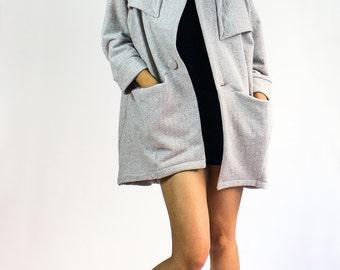 Beehive kimono sweater jacket / Gray Herringbone fleece oversized cardigan sweater - TWELVE collection