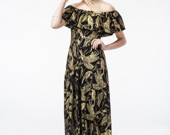 Maxi Dress - Organic Cotton - Gold on Black 'Birds of Prey' Flutter Top - Summer Wedding - Slow Fashion - Off The Shoulder - Thief&Bandit®