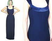 50% OFF SALE 90s Navy Blue Satin Evening Gown Formal Prom Dress Evening Gown Sleeveless Minimalist Strappy Maxi Dress (S)
