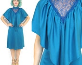 50% OFF SALE 70s Grecian Draped Dress Teal Jersey Cape Dress Disco Victorian Sheer Lace Knee Length Dress High Collar Formal Dress (S/M)