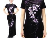 1990s Asian Dress Chinese Velvet Dress Purple Velvet Maxi Dress Mandarin Collar Qipao Sparkly Floral Hand Painted Velvet Evening Gown (S/M)