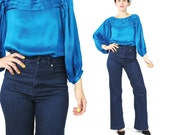 Diane Von Furstenberg Blouse Bright Blue Silk Blouse Jewel Tone Pleated Silk Blouse Peasant Sleeve Top Womens Work Office Blouse (S)