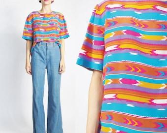 Vintage Silk Tshirt Blouse Southwestern Striped Blouse Short Sleeve Silk Shirt Womens Silk Blouse Bright Multi Color Arrows Navajo Boho (M)