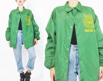 Vintage 70s Mens Nylon Jacket Snap Front Jacket Painted Portland Oregon Bright Green Jacket Mens Rain Jacket Slouchy Bomber Jacket (M/L)