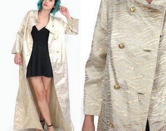 50% OFF SALE 1960s Gold Brocade Coat Gold Evening Jacket Vintage Maxi Dinner Jacket Fancy Formal Glam Metallic Texture Double Breasted (S/M)