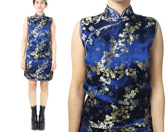 1990s Asian Dress Chinese Cheongsam Dress Mandarin Collar Dress Navy Blue Silk Dress Gold Brocade Party Sleeveless Evening Mini Dress (XS)