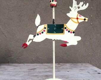 Metal reindeer folk art candle holder, farmhouse Christmas decor rustic candlestick holiday lighting