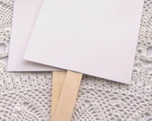 20 ct. Pre-Assembled White Blank DIY Wedding Program Cardstock Fans with Wooden Handles - 5-1/2 x 9""