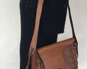 Vintage 70s Boho Leather Saddle Bag