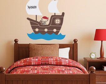 Pirate Ship Wall Decal with Personalized Boys Name - Pirate Wall Art - Children Wall Decals