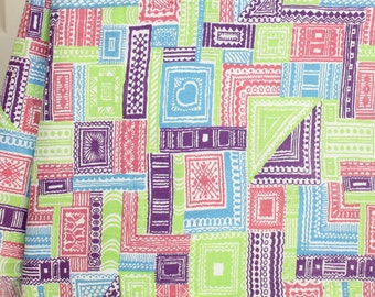 "40"" x 38"" w Vintage 50's  Feedsack Bright Pink, Blue, Purple and Lime Green Patchwork design Cotton Quilt Fabric"
