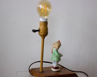 Vintage Girl Reading Ceramic Figure Lamp/ Wood Post/ Unusual on Switch