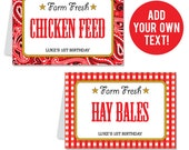 INSTANT DOWNLOAD Country Western Party Buffet Cards - EDITABLE Printable File