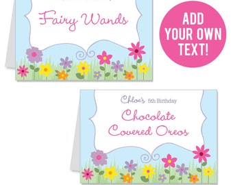 INSTANT DOWNLOAD Garden Party Buffet Cards - EDITABLE Printable File
