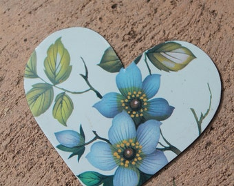 handmade heart cut from English serving tray with blue flowers for altered art, mixed media, collage, jewelry, assemblage