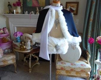 Lolita Bridal cape 20-inch Black / White Satin with Shawl-Collar No-Hood & Fur Trim Wedding Cloak Handmade in USA